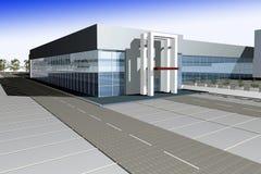 3D render of modern business center. Against gradient blue sky Stock Photos