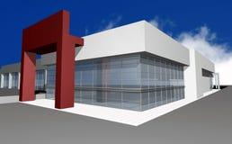 3D render of modern business center. 3D render of modern businesc center, isolated over blue sky Stock Photos