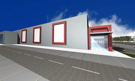 3D render of modern business center. Isolated over blue sky Stock Photos
