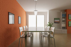 3d render modern dining room Stock Images