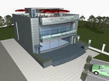 3d render of modern house. With parking space and car in front of building stock illustration