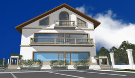 3D render of modern house. Facade, exterior, isolated over blue sky royalty free illustration