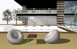 3D render of modern house Royalty Free Stock Image