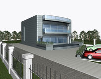 3D render of modern house building. 3d render of modern house with parking space and car in front of building Royalty Free Illustration