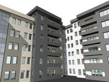 3D render of modern house building. 3D digital render of modern house building exterior Royalty Free Stock Photo
