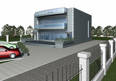 3D render of modern house building Royalty Free Stock Photography