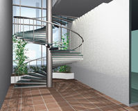 3D render of modern house building interior. With circle stairs Vector Illustration