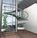 3D render of modern house building interior. 3d digital render of modern building interior whit circle stairs vector illustration