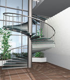 3D render of modern house building interior Royalty Free Stock Photo