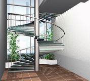 3D render of modern house building interior Royalty Free Stock Photography