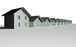 3D render of modern houses. Isolated over white Stock Images