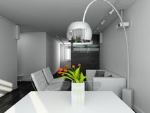 3d render modern interior Stock Photos