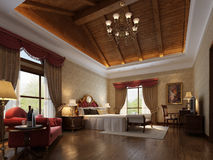 3d render modern interior. 3d render of a modern bed room interior Royalty Free Stock Photos
