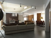 3d render of a modern interior Royalty Free Stock Photo