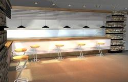 3D render of modern interior. 3D render of modern house interior, mini-bar as detail Stock Photography