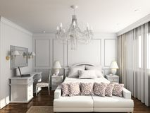 3D render modern interior of bedroom Royalty Free Stock Photo