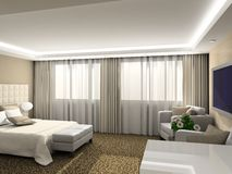 3D render modern interior of bedroom Royalty Free Stock Photos