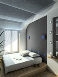 3D render modern interior of bedroom Royalty Free Stock Image