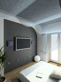 3D render modern interior of bedroom Stock Photos