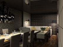 3D render modern interior of cafe; Stock Images