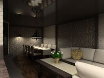 3D render modern interior of cafe Stock Image
