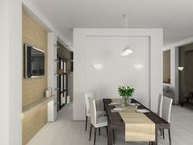 3D render modern interior of dining-room Stock Image