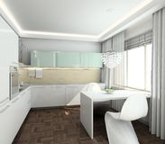 3D render modern interior of kitchen Royalty Free Stock Image