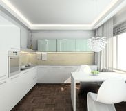 3D render modern interior of kitchen Stock Images