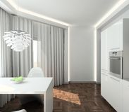 3D render modern interior of kitchen Royalty Free Stock Photo
