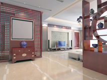 3d render modern interior of living-room 1 Stock Photography