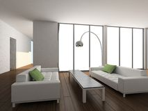 3D render modern interior of living-room vector illustration