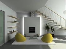 3D render modern interior of living-room royalty free illustration