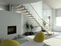 3D render modern interior of living-room Stock Photography