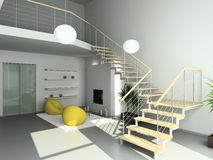 3D render modern interior of living-room Royalty Free Stock Image