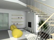 3D render modern interior of living-room stock illustration