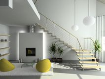 3D render modern interior of living-room royalty free illustration