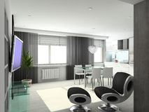 3D Render Modern Interior Of Living-room Royalty Free Stock Images