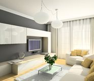 Free 3D Render Modern Interior Of Living-room Stock Image - 4714221
