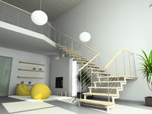 3D Render Modern Interior Of Living-room Stock Photos