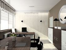 3D render modern interior of office Royalty Free Stock Photo