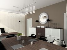 3D render modern interior of office Stock Photos