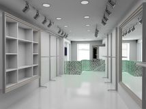 3D render modern interior of shop Royalty Free Stock Images