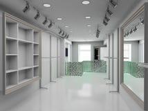 3D render modern interior of shop. Modern design interior of shop. 3D render