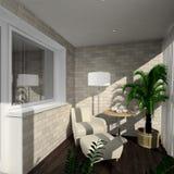 3D render modern interior of verandah. Modern design interior of verandah. 3D render Royalty Free Stock Photography