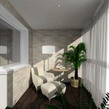 3D render modern interior of verandah. Modern design interior of verandah. 3D render Stock Images