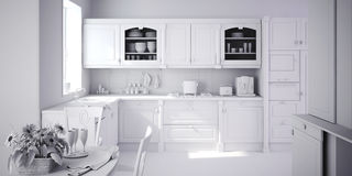 3d render of a modern kitchen Royalty Free Stock Images