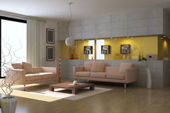 3d render modern living room Royalty Free Stock Images