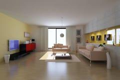 3d render modern living room Royalty Free Stock Photos