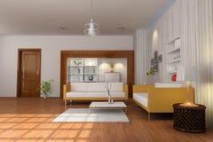 3d render modern living room Stock Photos