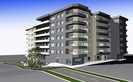 3D render of modern residential building Stock Photo